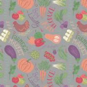 Lewis & Irene Farmers Market - 5349 - Vegetables on Grey - A210.3 - Cotton Fabric